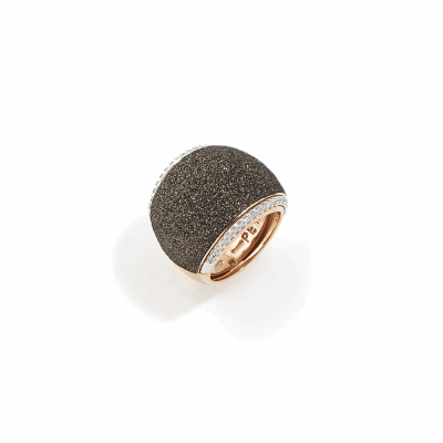 Pillow Ring w/Diamonds. Sterling Silver with an 18K Rose Gold Vermeil. Ring includes a total of 0.306Ct. diamonds, as well as butterfly sizing tines along interior of the ring for easy sizing.