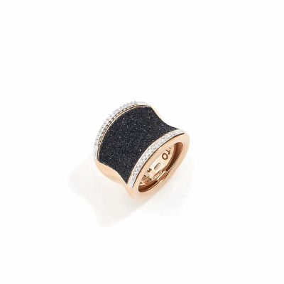Large Saddle Ring w/Diamonds. Sterling Silver with an 18K Rose Gold Vermeil. Ring includes a total of 0.252Ct. diamonds, as well as butterfly sizing tines along interior of the ring for easy sizing.