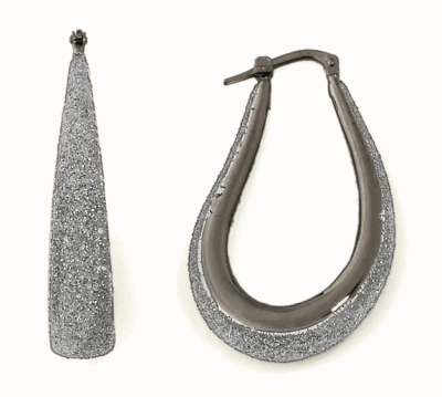 Small Teardrop Shape Polvere Di Sogni Earring. Sterling Silver with a Ruthenium Plating.