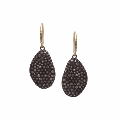 Old World MN/YG 23mm pavé bean-shaped earring with champagne diamonds.