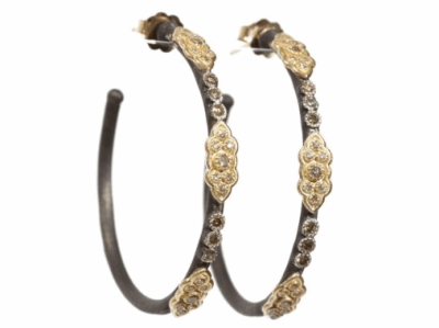 Blackened sterling silver and 18k yellow gold. 35mm scroll hoop earrings with champagne diamonds on post. Diamond Weight 0.594 ct. Metal: .925 Sterling Silver/18k Yellow Gold