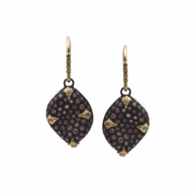 Old World MN/YG 18mm pavé 4-crivelli bean-shaped drop earrings with champagne diamonds.