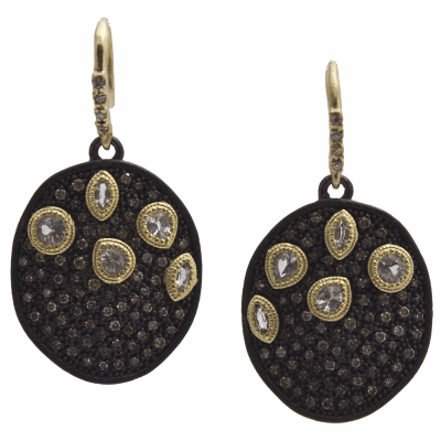 Old World MN/YG round pavé drop earrings with white sapphires and white and champagne diamonds.