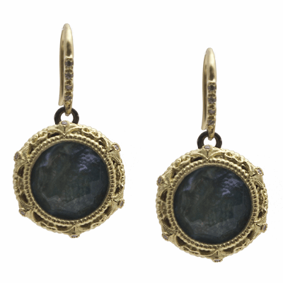 Old World MN/YG 12mm round crivelli drop earring with Peruvian Opal/White MOP/White Quartz triplets and white diamonds.