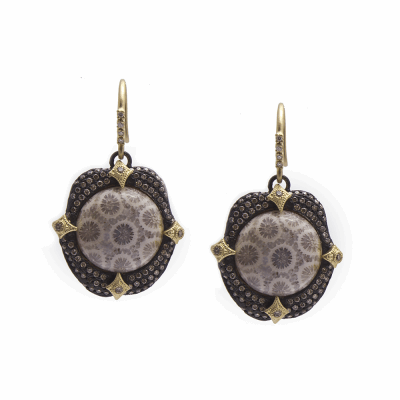 Old World MN/YG 16mm round pavé crivelli-prong earring with Fossilized Coral and white and champagne diamonds.