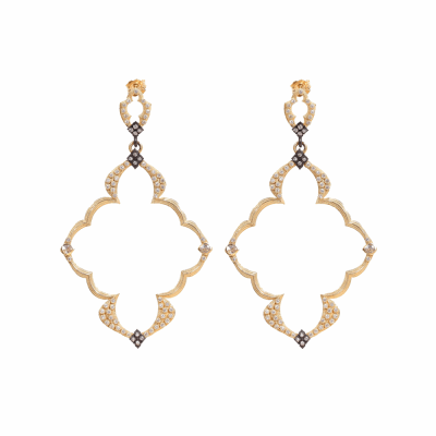 18k yellow gold large Dulcinea open wing earring with white diamonds and white sapphires. Diamond Weight 0.584 ct.
