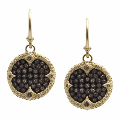Old World oxidized sterling silver and 18K gold 16.75mm carved disc earrings with pavé ombré champagne diamonds. Diamond Weight 0.6 ct.