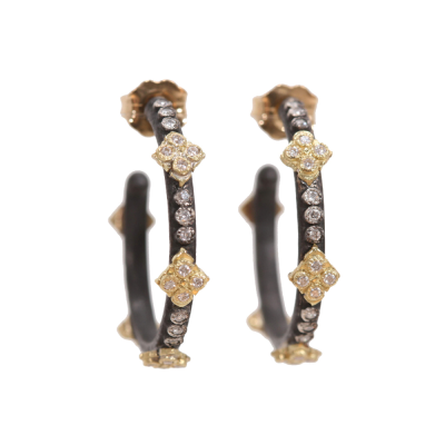 Blackened sterling silver and 18k yellow gold 16.5mm crivelli hoop earrings with white diamonds. Diamond Weight 0.28 ct.