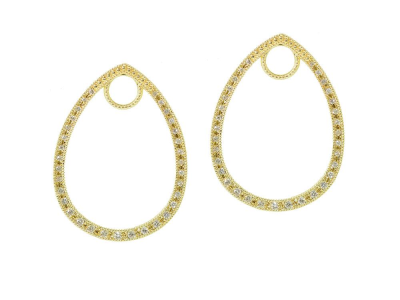 The classic pave tear drop earring charm frames feature 18k yellow gold with pave round diamonds. wear earring charms frames alone or along with any number of judefrances hoops and earring charms.