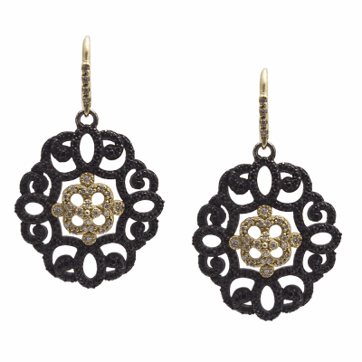 Old World MN/YG filigree earring with white diamonds and black sapphires.