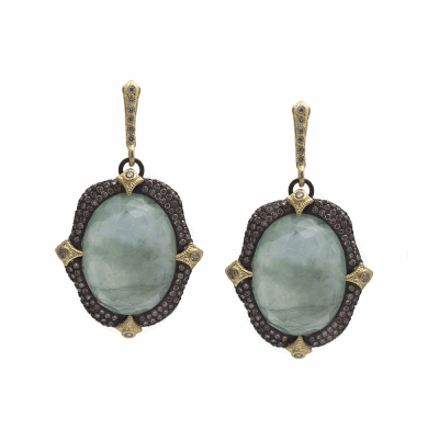Old World MN/YG 20x15 oval oval pavé crivelli-prong drop earring with Emerald/White MOP/Whtie Quartz triplet and white and champagne diamonds.
