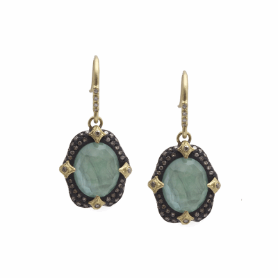 Old World MN/YG 12x10 oval pavé crivelli-prong drop earring with Emerald/White MOP/White Quartz triplet and white and champagne diamonds.