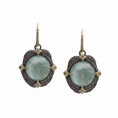Old World MN/YG 16mm round pavé crivelli-prong earring with Emerald/White Mother of Pearl/White Quartz triplet and white and champagne diamonds.
