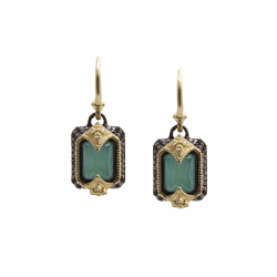 Closeup image for View Round Earrings With Blue Turquoise Doublet By Armenta