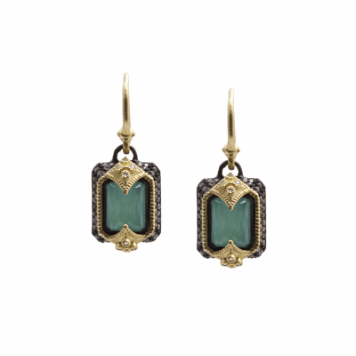 Old World oxidized sterling silver and 18k yellow gold emerald cut earrings with Blue Turquoise/Rainbow Moonstone doublet and white diamonds. Diamond Weight 0.69ct