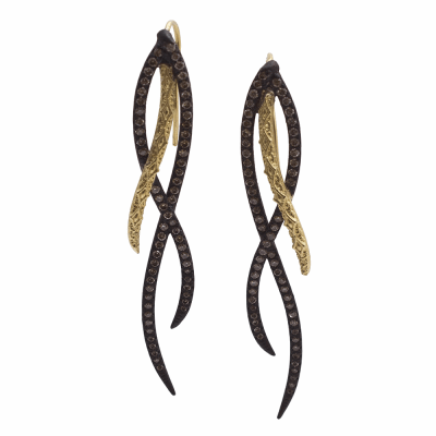 Old World MN/YG 55mm elongated spiral earrings with champagne diamonds.