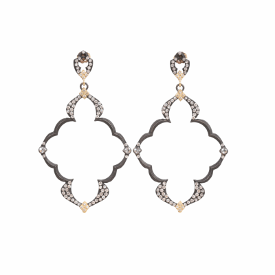 Blackened sterling silver and 18k yellow gold large Dulcinea open wing earring with white diamonds and white sapphires. Diamond Weight 0.584 ct.