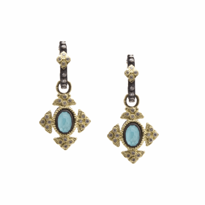 Old World oxidized sterling silver and 18k yellow gold petite oval crivelli cross earrings with Blue Turquoise/Rainbow Moonstone doublet and white diamonds on oxidized sterling silver  crivelli huggie. Diamond Weight 0.26ct