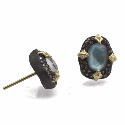 Old World MN/YG pavé bezel-set petal stud earring with Peruvian Opal doublets and champagne diamonds.