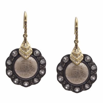 Old World MN/YG 12mm round Hermes drop earring with Fossilized Coral, white and champagne diamonds and white sapphires.