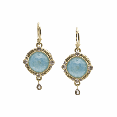 Old World oxidized sterling silver and 18k yellow gold 12mm round faceted Blue Turquoise/Rainbow Moonstone doublet and diamond earrings on granulated hook. Diamond Weight 0.06ct