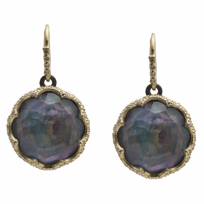 Old World MN/YG scalloped 16mm round drop earring with Peruvian Opal/White MOP/White Quartz triplets and white diamonds.