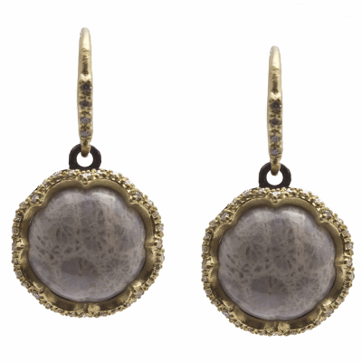 Old World MN/YG scalloped 12mm round drop earring with Fossilized Coral and white diamonds.