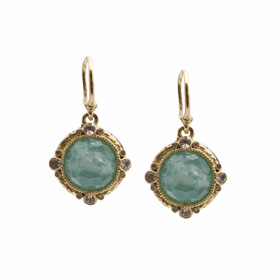 Old World oxidized silver and 18k yellow gold 12mm round Chrysoprase/Rainbow Moonstone doublets and diamond earrings on granulated hook.