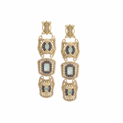 Old World blackened sterling silver and 18k yellow gold triple-mesh earring with emerald-cut Green Turquoise/Quartz doublet, white diamonds and white sapphire. Diamond Weight 1.34ct