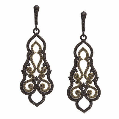 Old World MN/YG large swirl drop earring with champagne diamonds.