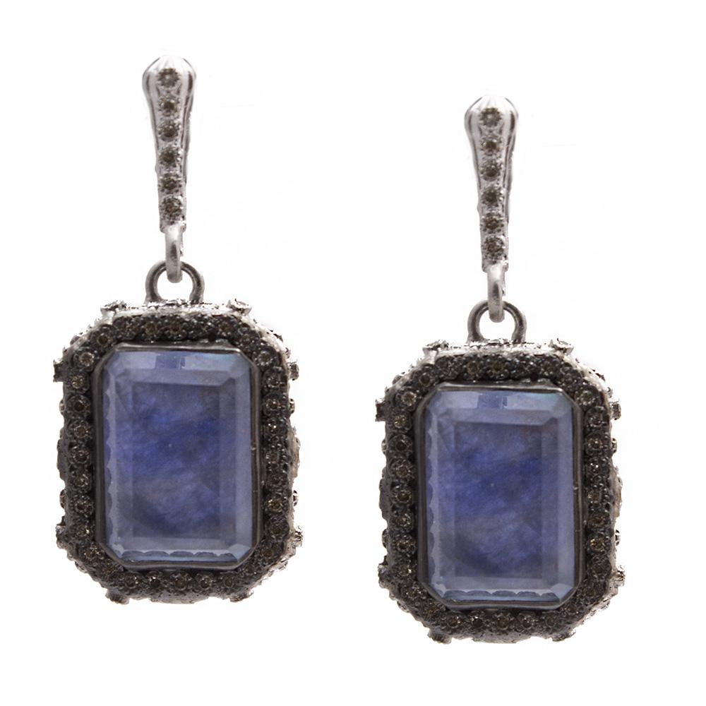 Armenta New World Emerald-Cut Blue Quartz Triplet Earrings with Diamonds oXd6vR