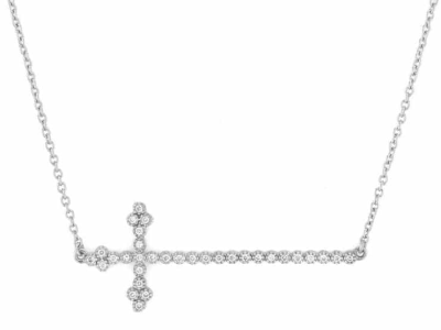 Jude Frances Provence Champagne Diamond Cross Necklace FR2TxQcL