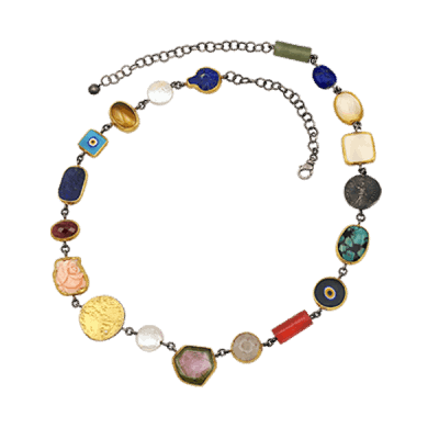 Ancient coins depicted in precious stones bezel set in 24k gold. Each piece is unique.