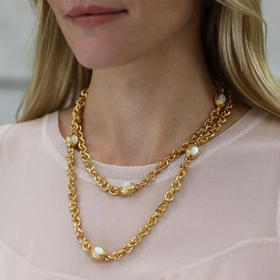 The stunning 24k plated gold Savannah Station Necklace is available in a variety of semi-precious stones. Shop this favorite now: