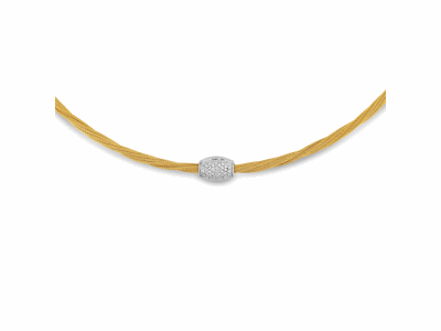 Yellow cable, 18kt. White Gold, 0.21total carat weight. Diamonds and stainless steel, 17″ length. Imported.