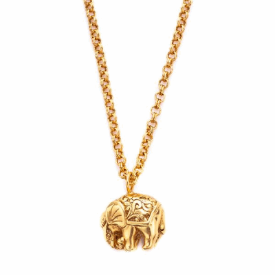 Carved regal elephant with a richly decorated blanket. 37 inch chain. Pendant 1 inch. 24K gold plate. Julie Vos hallmark. Shop THE ELEPHANT COLLECTION
