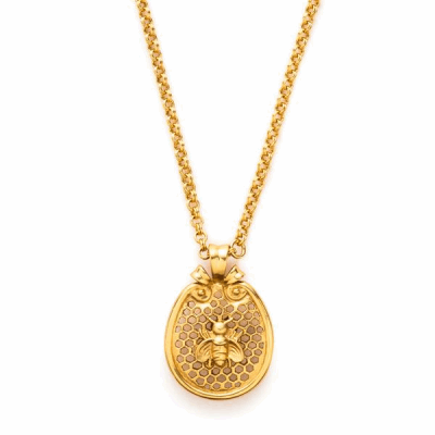 Whether you love bees or eye-catching jewelry, the Bee Pendant is perfect for you. Our enchanting Bee pendant is made with 24k gold plate.