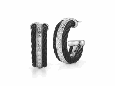 Black cable 2 row, 18 karat White Gold, 0.27 total carat weight Diamonds and stainless steel. Imported.