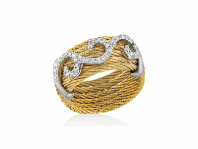 Yellow cable, 18kt. White Gold, 0.32total carat weight. Diamonds w/stainless steel. Imported.