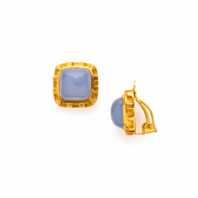 Like a work of art, these cabochon cubes are framed with an artfully carved gold setting - 24k gold plate clip-on earring in gold with semi-precious stones. As seen on Hillary Clinton!
