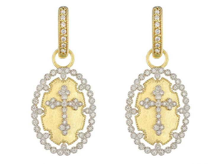 Related Products Closeup Image For View Provence Champagne Oval Bezel Cross Earring Charms By Jude Frances