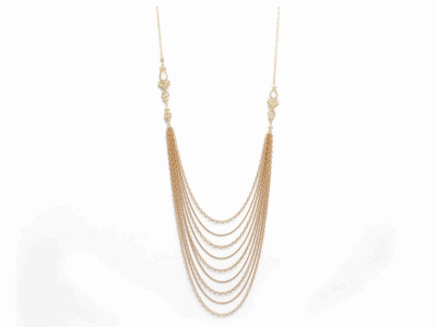 Sueno 40″ 18k yellow gold multi-strand duster necklace with white diamonds.