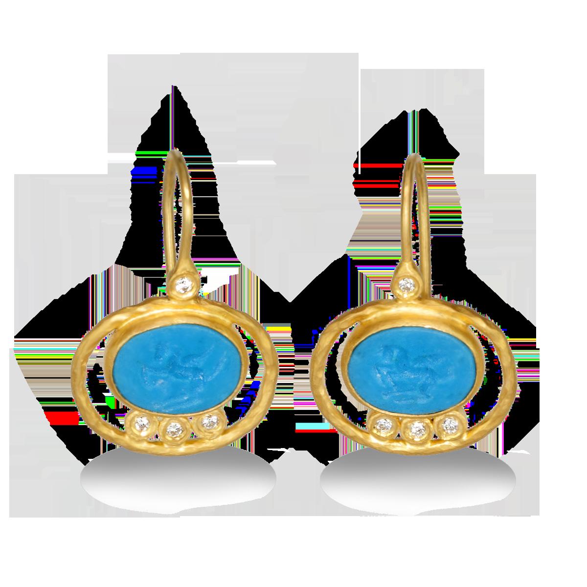 Kurtulan 24k Gold And Sleeping Beauty Turquoise French Hook Earrings