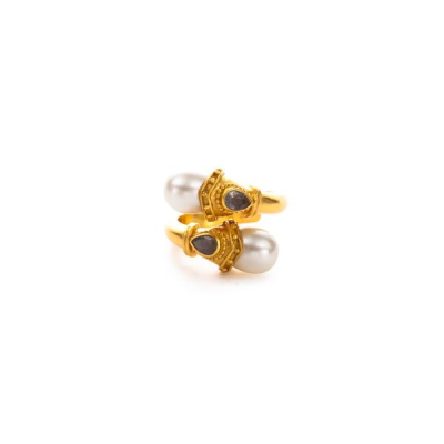 A subtle infusion of drama in the form of double cabochons capped with gilded crowns, studded with gemstones. Semiprecious stone, pearl. 24K gold plate. Julie Vos hallmark.