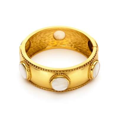 Six substantial cabochons adorn this wide bangle, trimmed with delicate beading. Hinged to fit all wrists. Semiprecious stone, pearl, imported glass. 24K gold plate. Julie Vos hallmark.