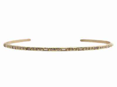 Collection: SuenoStyle #: 13586Description: Sueno 18k yellow gold thin cuff bracelet with white sapphire baguettes and white diamonds. Diamond weight - 0.15 ct.Metal: 18k Yellow Gold