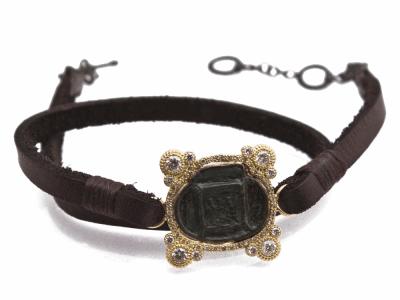 """Collection: Sueno Style #: 13627 Description: Sueno 18k yellow gold 13""""-14"""" 4-point artifact leather-wrap bracelet with white diamonds. Diamond weight - 0.8 ct.Metal: 18k Yellow Gold"""