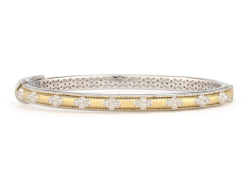 Closeup image for View Provence Champagne Narrow Brushed Bezel Cuff By Jude Frances