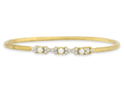 Closeup image for View Provence Champagne Diamond Bezel And Pearl Bangle By Jude Frances