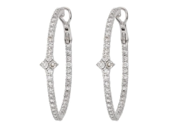 Closeup image for View Jude Diamond Pave Hoop Earrings - Eh020 By Jude Frances